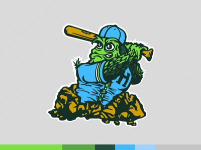 Primary Finsbury Hops Mascot typography illustrator hand lettering baseball sports identity logo vector illustration branding