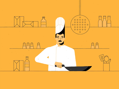 Hawkers Yard outline carpenter chef motion yellow character animation illustration