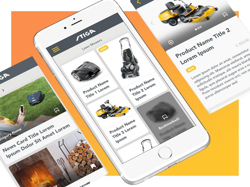 Stiga UI Exploration list products app bookmark
