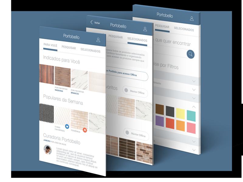 Portobello App ui app tabs search filter list product