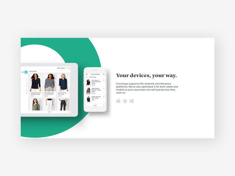 Concierge Brand Exploration landing page minimal design typography website retail responsive ui product catalog product cards app iphone ipad mockup