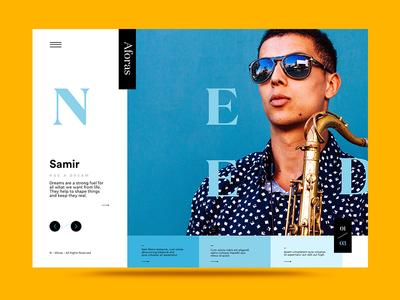 NML 01 – 03 web ux ui portraits minimal interface homepage design color