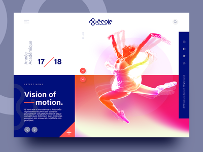 Ecole Art En Mouvement – Homepage design. modern harmony contrast color dancer design minimal interface homepage web ux ui