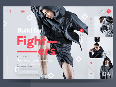 Bt – Build For Fighters - Ui ui ux web homepage interface minimal design fashion modern grayscale ecommerce 2018