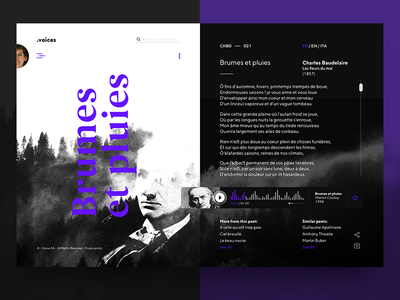 •voices – poetry for every moment – 001 app interface web player ux modern dirty ui poetry