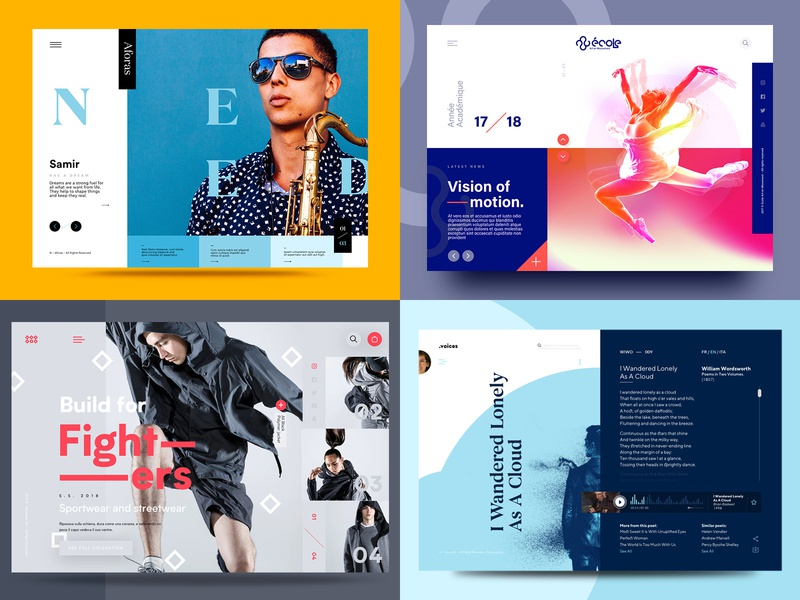 2018 design abstract modern color homepage ux minimal web ui