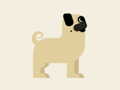 Pug pug puppy dog cute minimal illustration snort