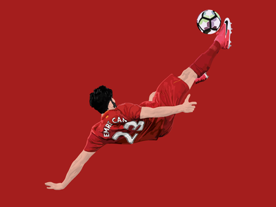 Emre Can print soccer football red adobe drawing design illustration vector germany liverpool lfc