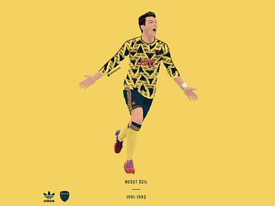 Mesut Ozil / Arsenal FC / 1991-93 illustration vector soccer football kit adidas originals adidas retro classic germany arsenal ozil