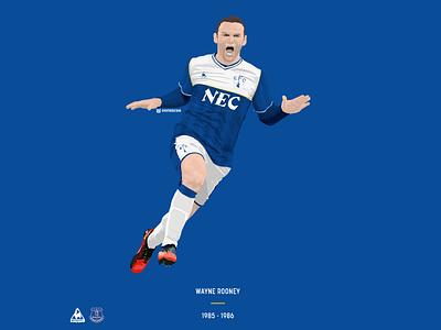 Wayne Rooney / Everton FC / 1985-86 vector illustration design concept kit classic soccer football everton rooney