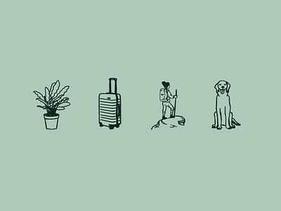 Icons hand drawn illustration outdoors hiking travel luggage suitcase houseplants houseplant dog icon resume