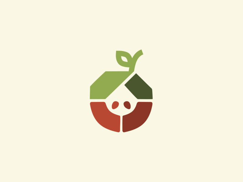 Apple House home icon community people branding logo house illustration house apple