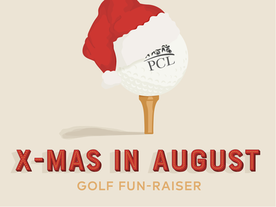 Christmas in August type vector golf ball non profit fundraiser golf
