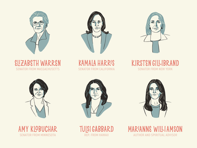 2020 Candidates hand lettering diversity feminism female election candidates political president lettering illustration typography