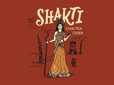 Shakti chai india tower packaging design label illustration branding hand lettering lettering typography hard cider