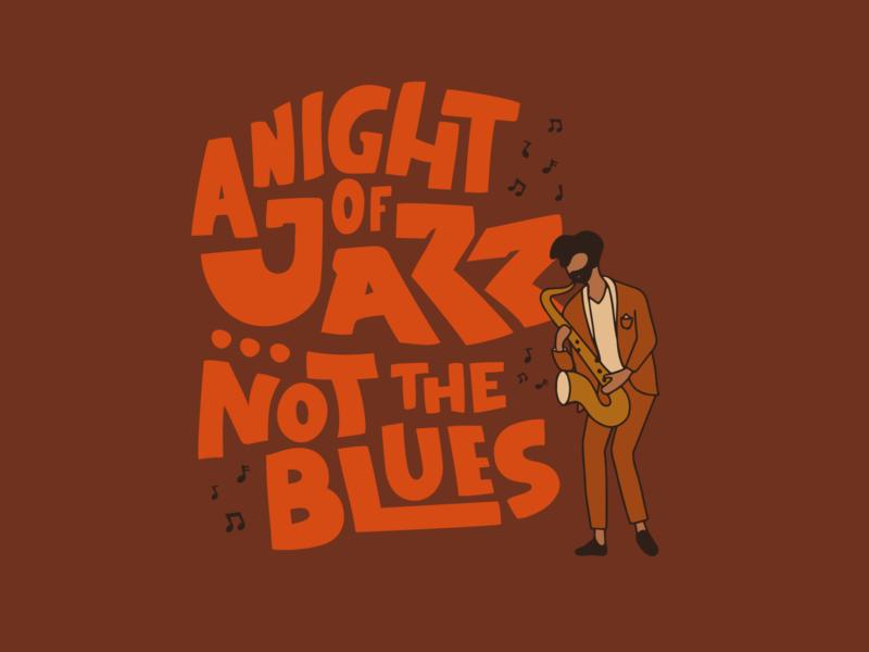 Not the Blues procreate illustration handlettering saxophone sax jazz musician