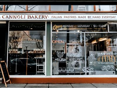 Storefront Display buffet dessert hand lettering typography sticker window display illustration cannoli storefront
