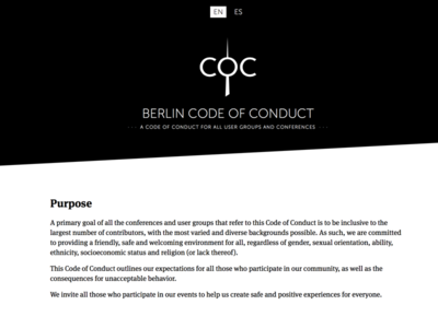Berlin Code of Conduct Website