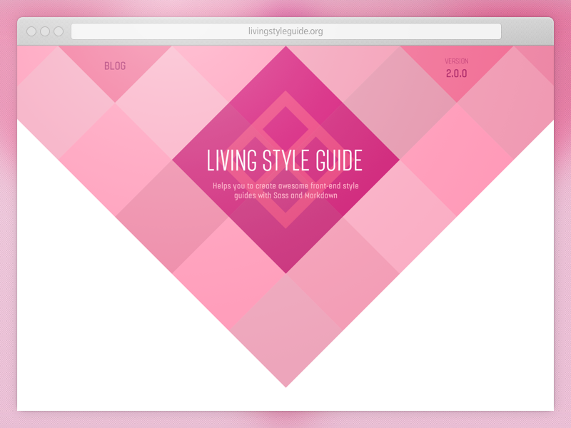 LivingStyleGuide Website website web design homepage style guide flat design css sass ruby pink clean open source
