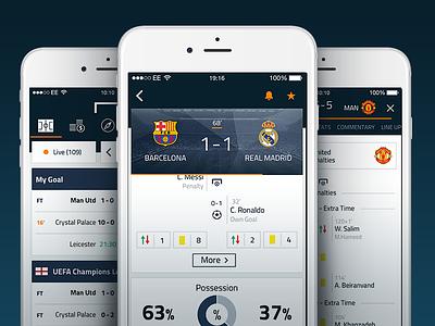 Goal Live Scores Bēhance Cover scores stats screen shot app sport soccer football ui ux