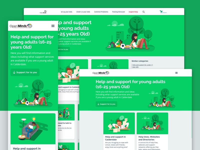 Open Minds Responsive Website charity illustrations section page breakpoints desktop tablet mobile responsive ui web