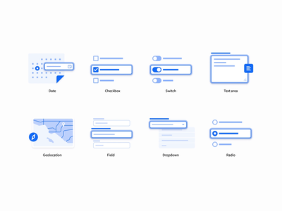 Help Illustrations switch date geolocation radio checkbox dropdown field text area icons illustration vector branding ui