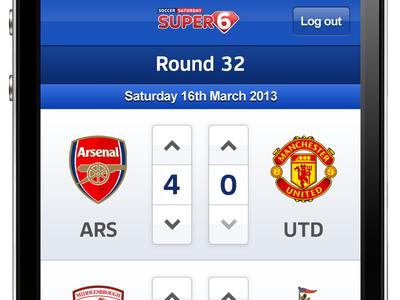 Super 6 Predictions mobile ui sky sky sports super 6 football blue predict arrows badges