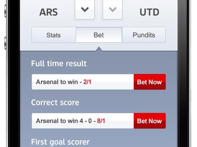 Super 6 Enhanced Predictions badges arrows predict blue football super 6 sky sports sky ui mobile betting opta
