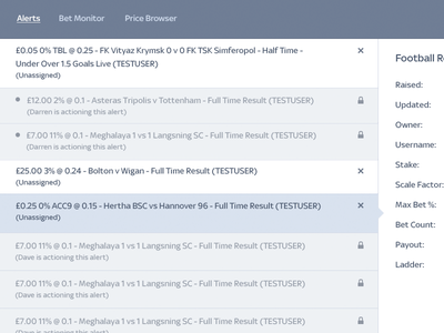 Betting Dashboard  alerts monitor ui sports interface admin dashboard betting sky desktop app clean