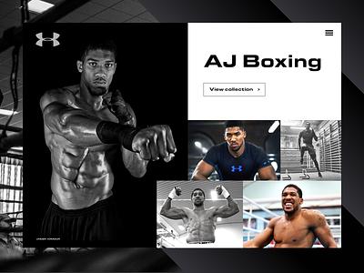 AJ Boxing for Under Armour ui  ux ui photography website shapes boxing under armour sport photography homepage hero darkui brand