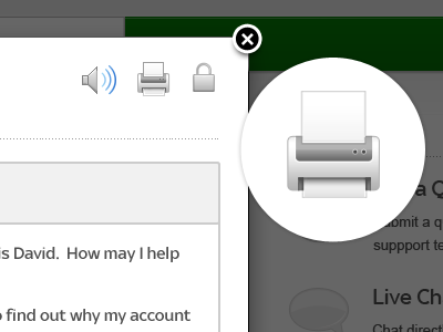 Help & Support Chat Box chat help support green user printer