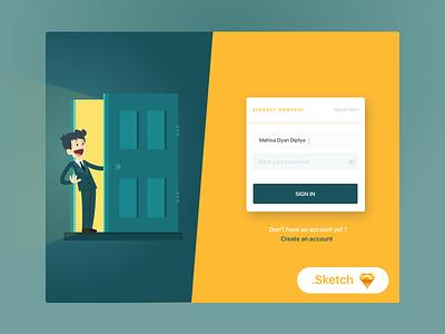 Free Login Page Illustration icon sign up vector ui illustration free sketch invite dashboard card sign login