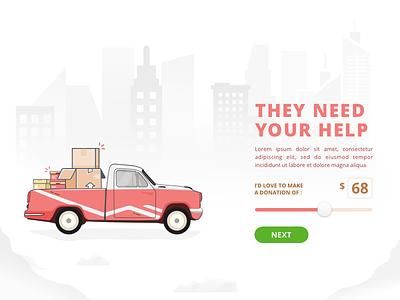 Donation Illustration web landing invitation charity car clean donation ux ui illustration characters city