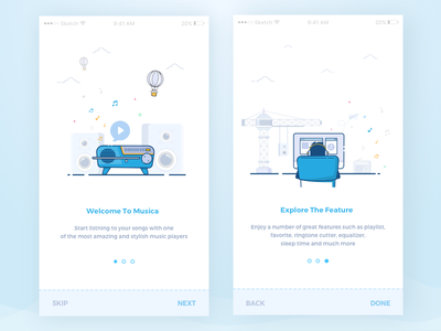 Musica Onboarding Screen ux ui onboarding prototype invitation tour icon interaction welcome screen application  clean ios iphone music product app illustrations card icons design graphics android material