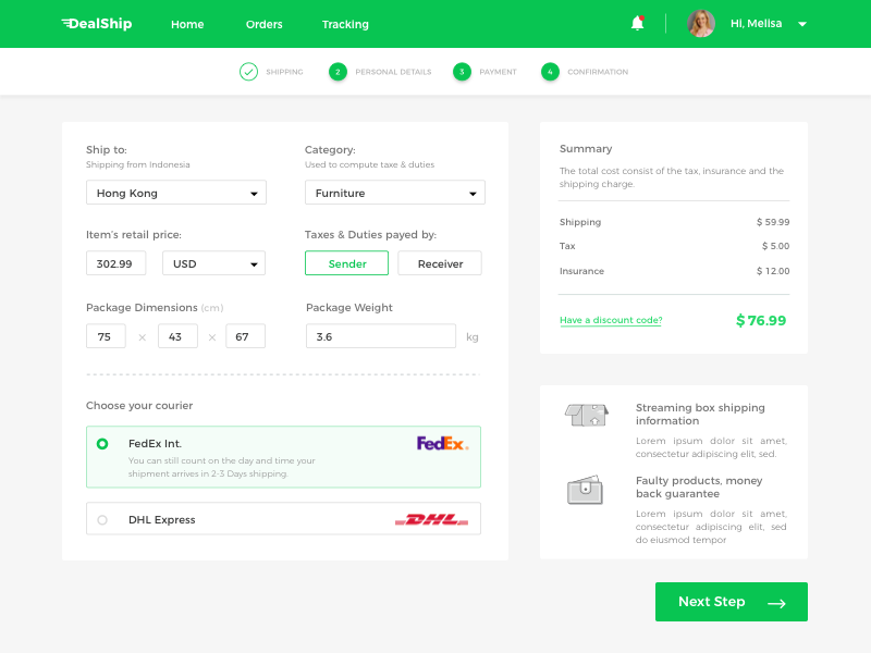 Shipping App Concept ux ui checkout animation web dashboard interaction gif card store ecommerce material design invite order flat page ios iphone shipping package android delivery navigation menu