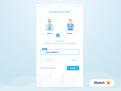 Multiple Login Form signup ui ux medical menu input clean android rebound ios iphone invite form material design sketch free illustration home dashboard interaction animation mobile login onboarding