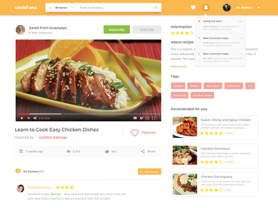 Cookfans web app navigation menu android delivery recipe restaurant ios iphone video page invite order material design store ecommerce food card dashboard interaction animation web ux ui checkout