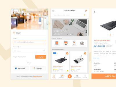 Technomart App Concept ux ui ecommerce experience invitation icon fashion interaction welcome screen application  clean ios iphone shop product web website card icons design graphics android material
