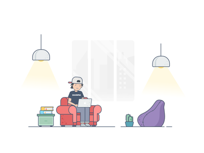 Remote Working Illustration remote working ecommerce shop living room work space home office bukalapak illustration empty state productivity character