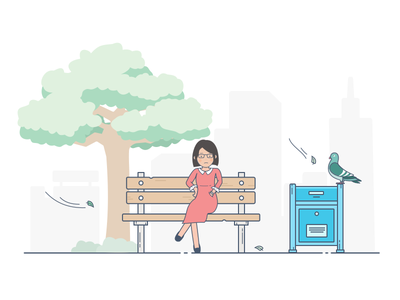 Waiting mailbox waiting light women chair park girl tree style nature illustration character