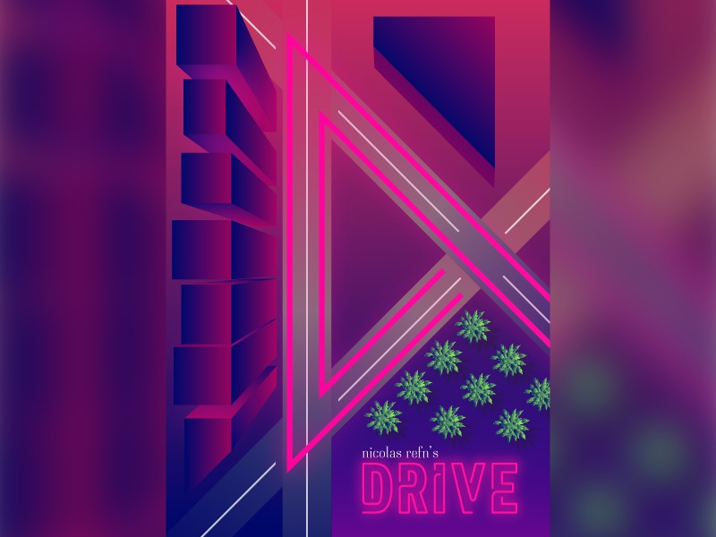 Drive - Movie Poster poster movies design night road digital neon 80s illustration isometric movie drive