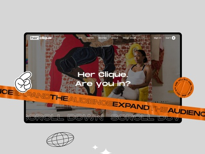 Her clique – E-commerce experience feminist minimal nineties sticker urban brutalism brutal bold girlpower ecommerce