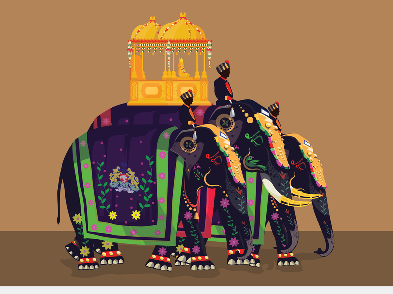 lead elephant with Howdah graphic vector design graphic  design illustrator illustration graphic art
