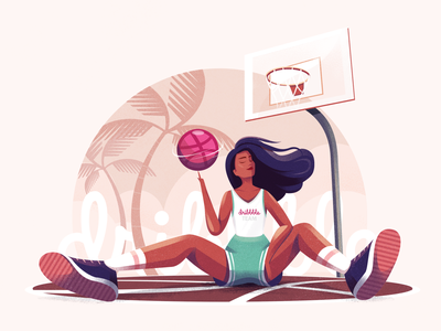 Hello Dribbble! woman palm tree tropical sports sport character girl ball basketball illustration hello dribbble first shot
