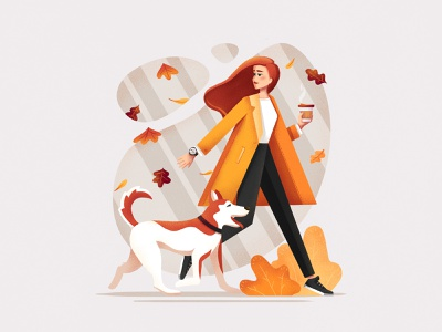 Morning walk leaves leaf woman character colorful autumn dog walking dog walk girl illustration