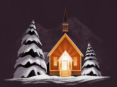 Yosemite Valley Chapel night house tree pine chapel snow winter illustration