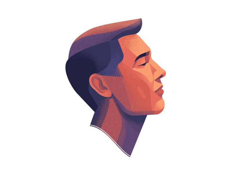 Yaroslav coloful head face design vector profile avatar poster print texture character portrait man illustration