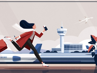 Running late for a flight woman suitcase terminal flight plant run airplane airport girl character illustration