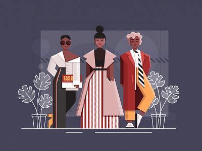 Street Style women style plant street fashion fashion woman vector design girl character illustration