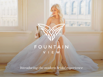 Fountain View girl fashion luxury bride fountain diamond wings wedding elegant modern logo